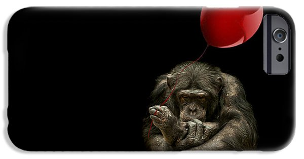 Chimpanzee iPhone 6s Case - Girl With Red Balloon by Paul Neville