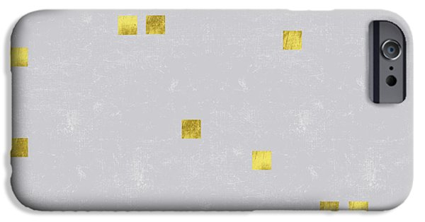 Gold Scattered Square Confetti Pattern On Grey Linen Texture IPhone 6s Case by Tina Lavoie
