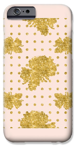 Golden Gold Blush Pink Floral Rose Cluster W Dot Bedding Home Decor IPhone 6s Case by Audrey Jeanne Roberts