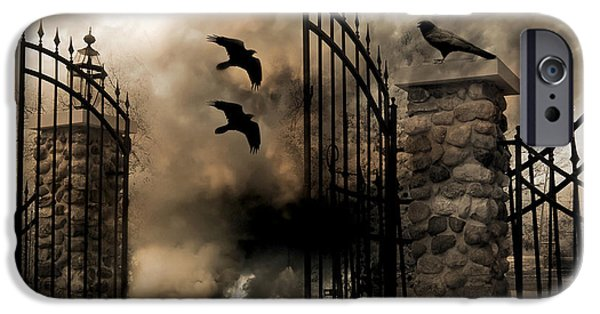 Gothic Surreal Fantasy Ravens Gated Fence  IPhone 6s Case by Kathy Fornal