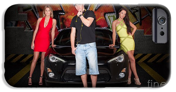 Group Of Young People Beside Black Modern Car IPhone Case by Jorgo Photography - Wall Art Gallery