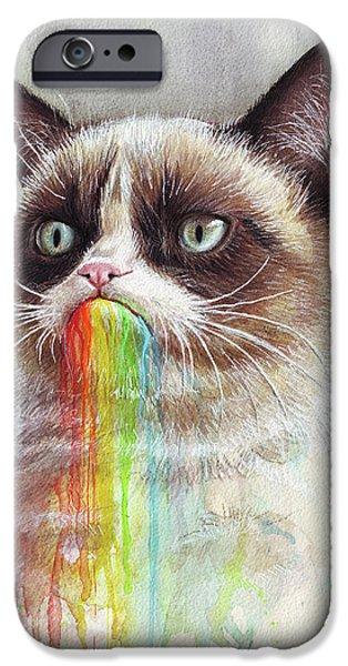 Cat iPhone 6s Case - Grumpy Cat Tastes The Rainbow by Olga Shvartsur