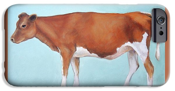 Cow iPhone 6s Case - Guernsey Cow Standing Light Teal Background by Dottie Dracos