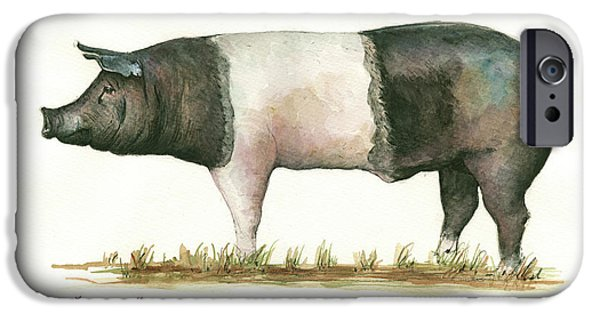 Pig iPhone 6s Case - Hampshire Pig by Juan Bosco