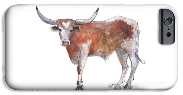 Cow iPhone 6s Case - Heart Of Texas Longhorn by Kathleen McElwaine