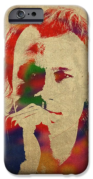 Heath Ledger iPhone 6s Case - Heath Ledger Watercolor Portrait by Design Turnpike