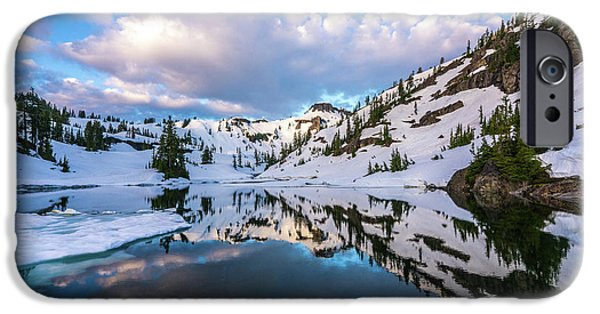 Heather Meadows Blue Ice Reflection Cloudscape IPhone Case by Mike Reid