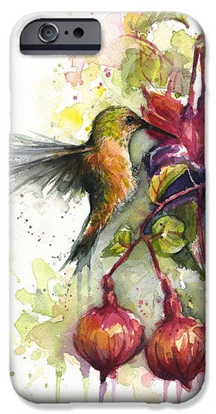 Hummingbird iPhone 6s Case - Hummingbird And Fuchsia by Olga Shvartsur