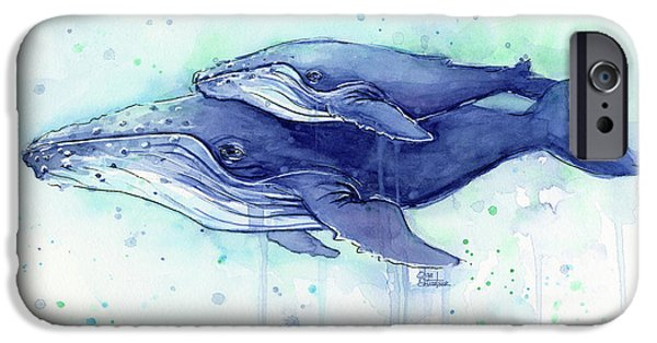Humpback Whale Mom And Baby Watercolor IPhone 6s Case by Olga Shvartsur