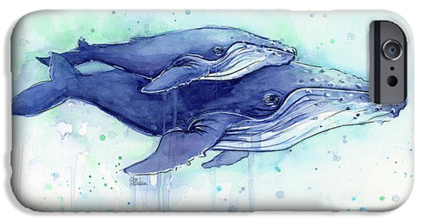 Humpback Whales Mom And Baby Watercolor Painting - Facing Right IPhone 6s Case