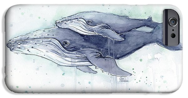 Humpback Whales Painting Watercolor - Grayish Version IPhone 6s Case