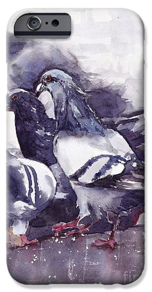 Pigeon iPhone 6s Case - Hungry Pigeons Watercolor by Suzann's Art