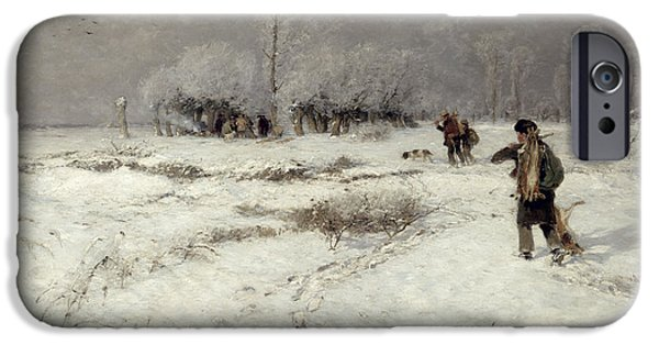 Hunting In The Snow IPhone Case by Hugo Muhlig
