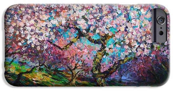 Impressionistic Spring Blossoms Trees Landscape Painting Svetlana Novikova IPhone Case by Svetlana Novikova
