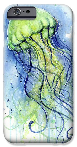 Swimming iPhone 6s Case - Jellyfish Watercolor by Olga Shvartsur