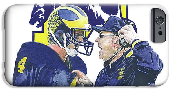 University Of Michigan iPhone 6s Case - Jim Harbaugh And Bo Schembechler by Chris Brown