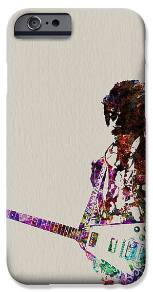 Rock And Roll iPhone 6s Case - Jimmy Hendrix With Guitar by Naxart Studio