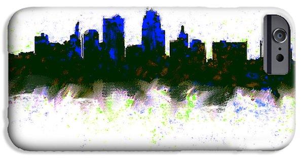 Kansas City Skyline Blue  IPhone 6s Case by Enki Art