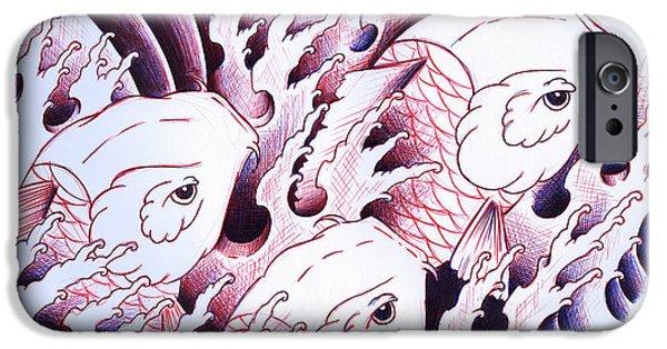 Koi iPhone 6s Case - Koi Carps In Water Tattoo Art by Samuel Whitton