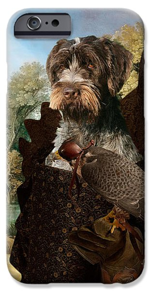 Korthals Pointing Griffon Art Canvas Print - The Hunters And Lady Falconer IPhone 6s Case