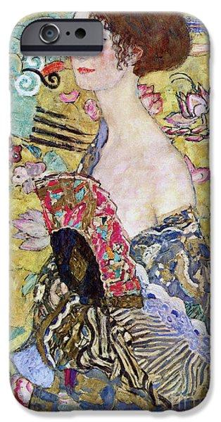 Lady With A Fan IPhone Case by Gustav Klimt