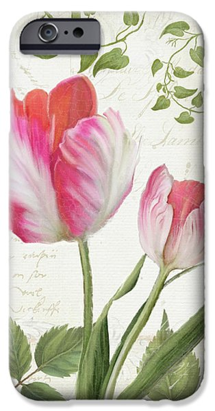 Les Magnifiques Fleurs IIi - Magnificent Garden Flowers Parrot Tulips N Indigo Bunting Songbird IPhone 6s Case by Audrey Jeanne Roberts
