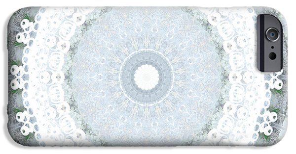 Fractal iPhone 6s Case - Light Blue Mandala- Art By Linda Woods by Linda Woods