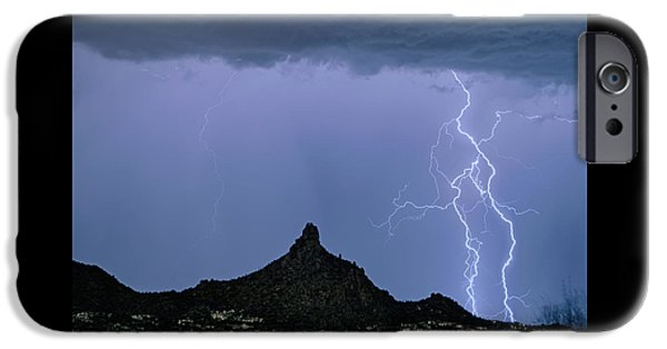 IPhone 6s Case featuring the photograph Lightning Bolts And Pinnacle Peak North Scottsdale Arizona by James BO Insogna