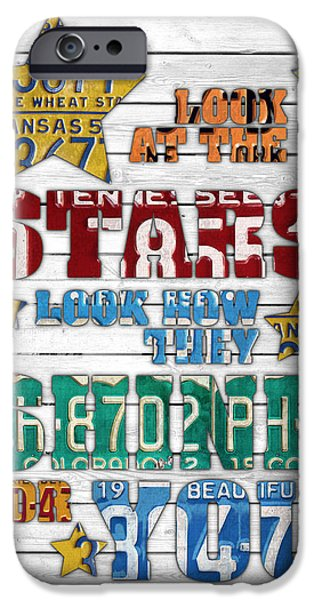 Look At The Stars Coldplay Yellow Inspired Typography Made Using Vintage Recycled License Plates V2 IPhone 6s Case by Design Turnpike