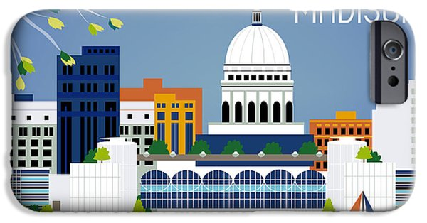 Madison Wisconsin Horizontal Skyline IPhone 6s Case by Karen Young