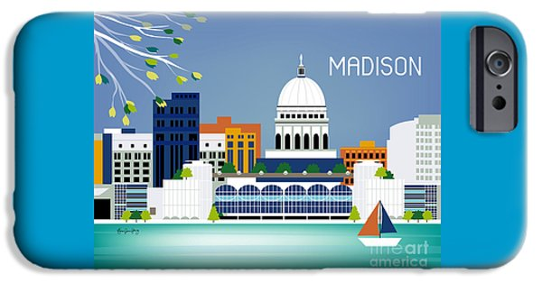 Capitol Building iPhone 6s Case - Madison Wisconsin Horizontal Skyline by Karen Young