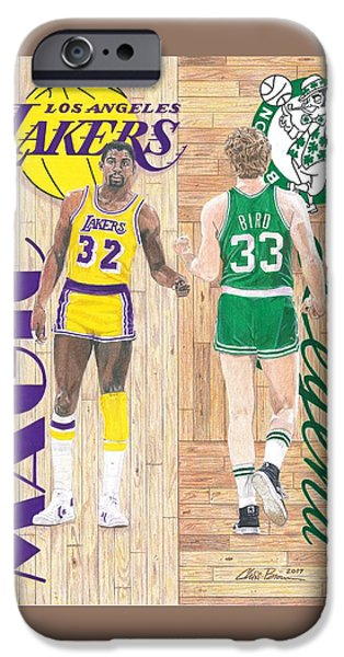 Magic Johnson And Larry Bird IPhone 6s Case by Chris Brown