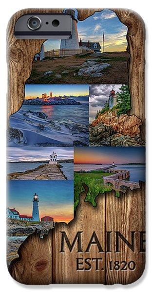New England Coast iPhone 6s Case - Maine Lighthouses Collage by Rick Berk