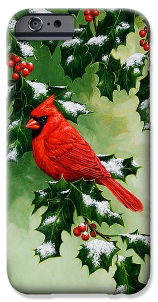 Male Cardinal And Holly Phone Case IPhone 6s Case by Crista Forest
