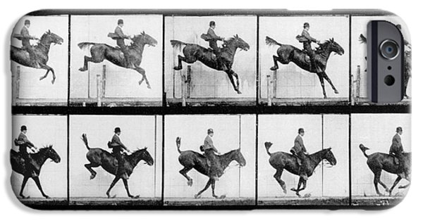Horse iPhone 6s Case - Man And Horse Jumping by Eadweard Muybridge