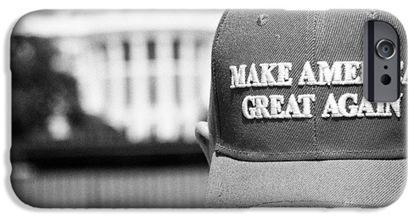 Whitehouse iPhone 6s Case - man wearing red make america great again outside the trump white house Washington DC USA by Joe Fox