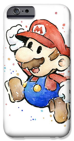 Mario Watercolor Fan Art IPhone 6s Case by Olga Shvartsur
