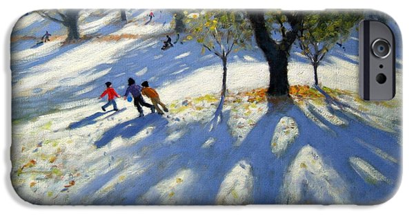 Markeaton Park Early Snow IPhone Case by Andrew Macara