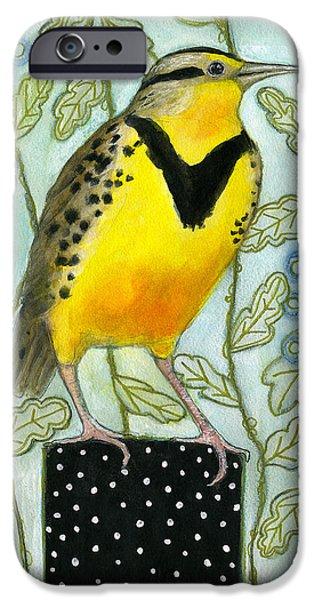 Meadowlark iPhone 6s Case - Meadowlark Black Dot Box by Blenda Tyvoll
