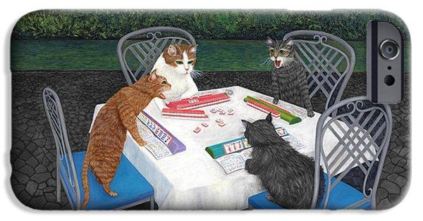 Dragon iPhone 6s Case - Meowjongg - Cats Playing Mahjongg by Karen Zuk Rosenblatt