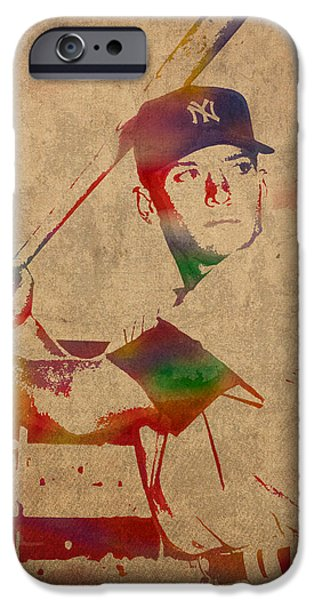 Mickey Mantle New York Yankees Baseball Player Watercolor Portrait On Distressed Worn Canvas IPhone 6s Case by Design Turnpike