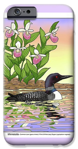 Loon iPhone 6s Case - Minnesota State Bird Loon And Flower Ladyslipper by Crista Forest