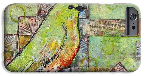 Mint Green Bird Art IPhone Case by Blenda Studio