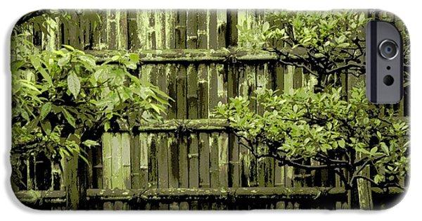 Mossy Bamboo Fence - Digital Art IPhone Case by Carol Groenen