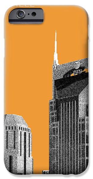 Nashville Skyline At And T Batman Building - Orange IPhone 6s Case by DB Artist