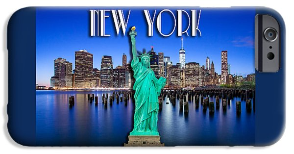 Statue Of Liberty iPhone 6s Case - New York Classic Skyline With Statue Of Liberty by Az Jackson