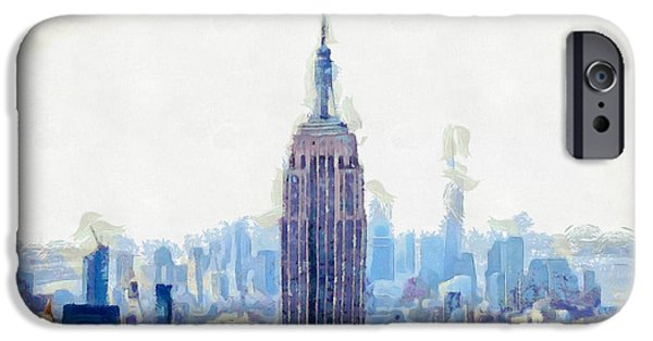 New York Skyline Art- Mixed Media Painting IPhone 6s Case by Wall Art Prints