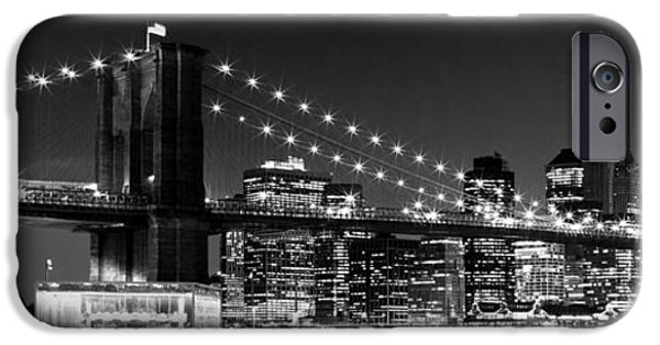 Night Skyline Manhattan Brooklyn Bridge Bw IPhone 6s Case