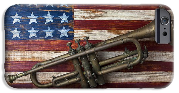Old Trumpet On American Flag IPhone 6s Case by Garry Gay