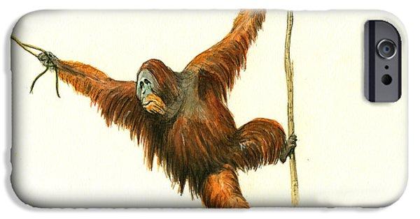 Orangutan iPhone 6s Case - Orangutan by Juan Bosco